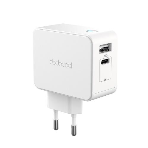 دودوكول 30W USB-C PD و USB-A شاحن مهايئ الجدار المزدوج بمنفذ الطاقة مع توصيل الطاقة