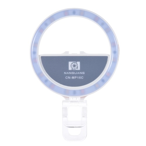 Buy NANGUANG CN-MP16C Clip-on Selfie Fill-in Ring LED Light Flash Bi-color 3200-5600K High CRI 95 Stepless Adjustable Round Shape 16 Makeup Mirror Iphone Samsung Smartphone White