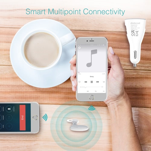 dodocool 2-in-1 Multifunction Wireless Headphone Dual USB Car Charger with Built-in HD Mic Handsfree Earbud WhiteCellphone &amp; Accessories<br>dodocool 2-in-1 Multifunction Wireless Headphone Dual USB Car Charger with Built-in HD Mic Handsfree Earbud White<br>