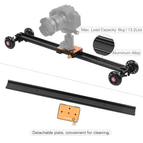 Andoer 60cm/23.6 4 Wheels Soundless Aluminum Alloy Video Rail Track Slider Table Dolly Car Stabilizer Max. Load 6kg/13.2Lbs for CCameras &amp; Photo Accessories<br>Andoer 60cm/23.6 4 Wheels Soundless Aluminum Alloy Video Rail Track Slider Table Dolly Car Stabilizer Max. Load 6kg/13.2Lbs for C<br>