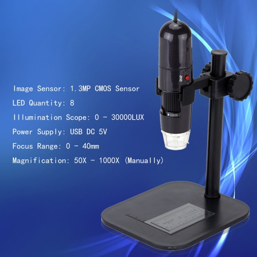 50-1000X 8LED USB Digital Microscope Zoom Endoscope Magnifier with Adjustable Stand True 1.3MP Video CameraTest Equipment &amp; Tools<br>50-1000X 8LED USB Digital Microscope Zoom Endoscope Magnifier with Adjustable Stand True 1.3MP Video Camera<br>