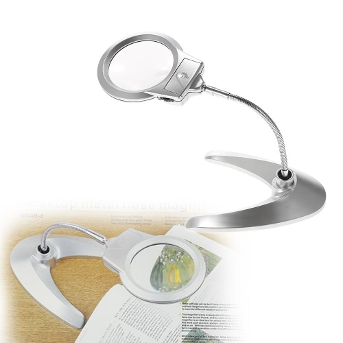 Multi-functional Flexible Magnifier 90mm 2X 21mm 6X with 2 LED Lights Desk Table Magnifying Glass ToolTest Equipment &amp; Tools<br>Multi-functional Flexible Magnifier 90mm 2X 21mm 6X with 2 LED Lights Desk Table Magnifying Glass Tool<br>