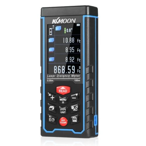 KKmoon 100m display ricaricabile tenuta in mano portatile laser digitale tester di distanza colori Range Finder distanziometro Area di misurazione del volume con angolo Indicazione di alta precisione Rangefinder