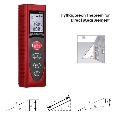 KKmoon Mini Handheld 40m/131ft 60m/192ft Digital Laser Distance Meter Range Finder Diastimeter Distance Area Volume MeasurementTest Equipment &amp; Tools<br>KKmoon Mini Handheld 40m/131ft 60m/192ft Digital Laser Distance Meter Range Finder Diastimeter Distance Area Volume Measurement<br>