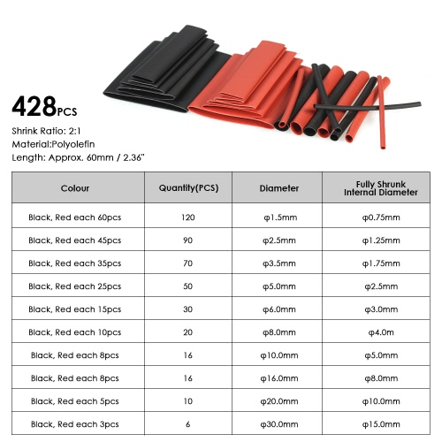 428pcs Black Red Shrinkable Tube Polyolefin Halogen-Free Heat Shrink Tubing Electrical Equipment Tube Sleeving Wrap Wire Cable SleTest Equipment &amp; Tools<br>428pcs Black Red Shrinkable Tube Polyolefin Halogen-Free Heat Shrink Tubing Electrical Equipment Tube Sleeving Wrap Wire Cable Sle<br>