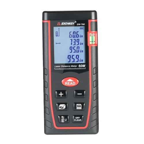 Misuratore di distanza laser digitale LCD portatile da 60 m Misuratore di distanza Range Area Misurazione del volume di 30 gruppi