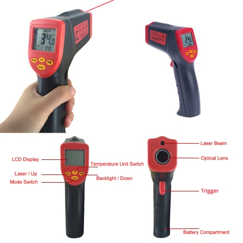 -32~530°C 12:1 Handheld Non-contact Digital Infrared IR Thermometer Temperature Tester Pyrometer LCD Display with BacklightTest Equipment &amp; Tools<br>-32~530°C 12:1 Handheld Non-contact Digital Infrared IR Thermometer Temperature Tester Pyrometer LCD Display with Backlight<br>