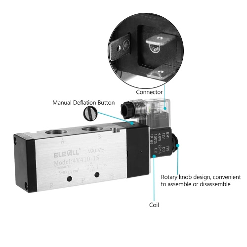 4V410-15 PT1/2 2 Position 5 Way AC220V Pneumatic Solenoid Valve Electric Air ValveTest Equipment &amp; Tools<br>4V410-15 PT1/2 2 Position 5 Way AC220V Pneumatic Solenoid Valve Electric Air Valve<br>