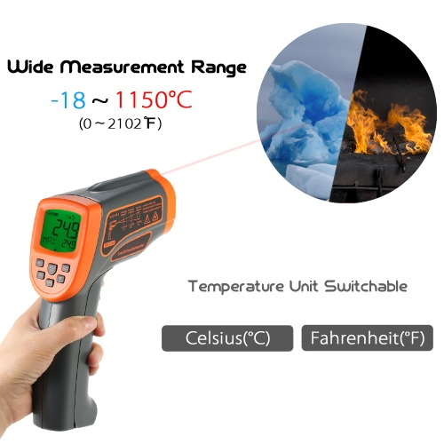 SMART SENSOR -18?1350? 20:1 Multifunctional USB Non-contact IR Infrared Thermometer Portable Handheld Digital Temperature Tester PTest Equipment &amp; Tools<br>SMART SENSOR -18?1350? 20:1 Multifunctional USB Non-contact IR Infrared Thermometer Portable Handheld Digital Temperature Tester P<br>