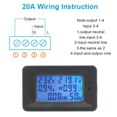 20A Digital Voltage Meter Energy Meter LCD 5KW Power Factor Energy Frequency Meters Voltmeter Ammeter Current Amps Watt Meter Tester Detector Indicator