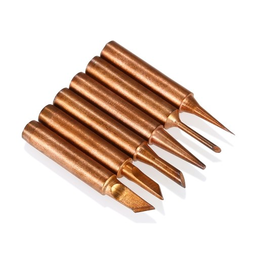 6PCS Copper Soldering Iron Tips Replacement Solder Tip Lead-free Welding Head