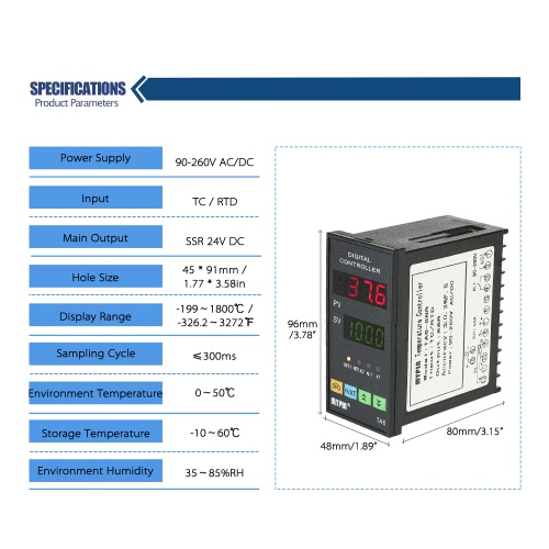 MYPIN Multi-functional Intelligent Temperature Controller Dual 4 Digital LED Display ?/? Thermostat PID Heating Cooling Control TCTest Equipment &amp; Tools<br>MYPIN Multi-functional Intelligent Temperature Controller Dual 4 Digital LED Display ?/? Thermostat PID Heating Cooling Control TC<br>