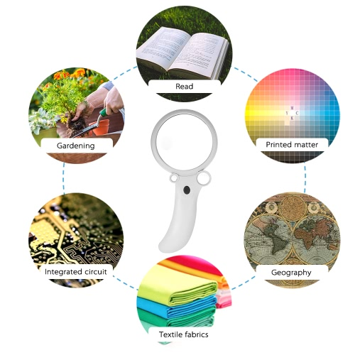 Handheld 2.5X 4.5X 25X 55X 90mm Multifunctional Portable Reading Magnifier Four Glass Lens Magnifying Glass Tool with 4 LED LightTest Equipment &amp; Tools<br>Handheld 2.5X 4.5X 25X 55X 90mm Multifunctional Portable Reading Magnifier Four Glass Lens Magnifying Glass Tool with 4 LED Light<br>