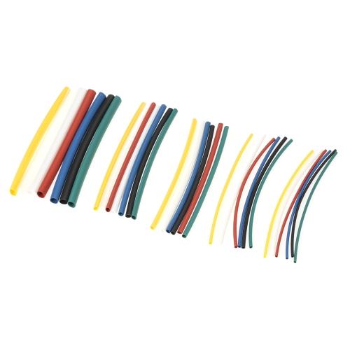 140PCS 7 Couleur Polyoléfine sans halogène 2: 1 Gaine thermorétractable Gaine thermorétractable Gaine Wrap Câble Kit φ1.0-φ5.0mm