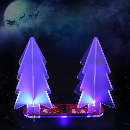 DIY Full Color Changing LED Light Acrylic 3D Christmas Tree Electronic Learning Kit Module