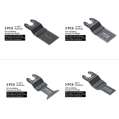 KKmoon 12pcs Wood Oscillating Multi Tool Quick Release Saw Blade for Dremel Fein Multimaster Makita Bosch Craftsman Porter Rockwel