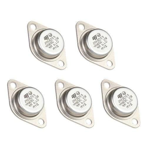 5pcs haute qualité 2N3055 Transistors de puissance NPN TO-3 boîtier en métal 15A / 60V
