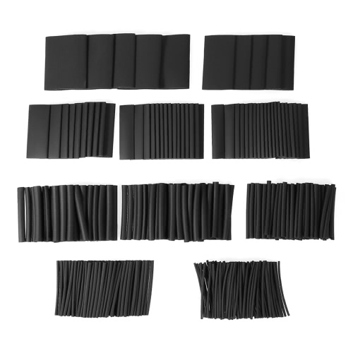 415pcs Black Shrinkable Tube Polyolefin Halogen-Free Heat Shrink Tubing Electrical Equipment Tube Sleeving Wrap Wire Cable SleeveTest Equipment &amp; Tools<br>415pcs Black Shrinkable Tube Polyolefin Halogen-Free Heat Shrink Tubing Electrical Equipment Tube Sleeving Wrap Wire Cable Sleeve<br>