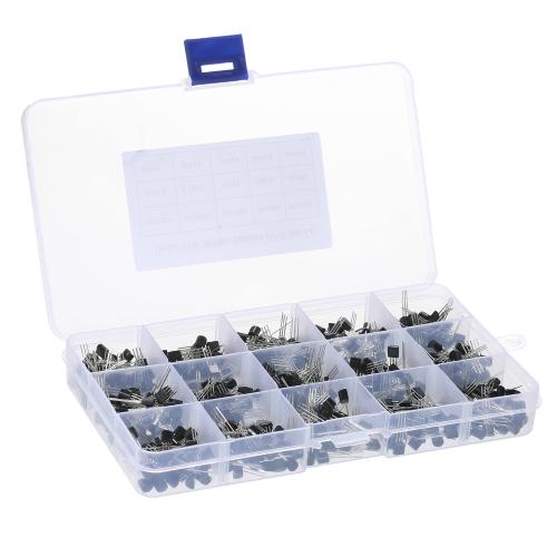600pcs 15Values * 40pcs TO-92 Transistors Pack Transistor Assortiment Kit avec boîte de rangement