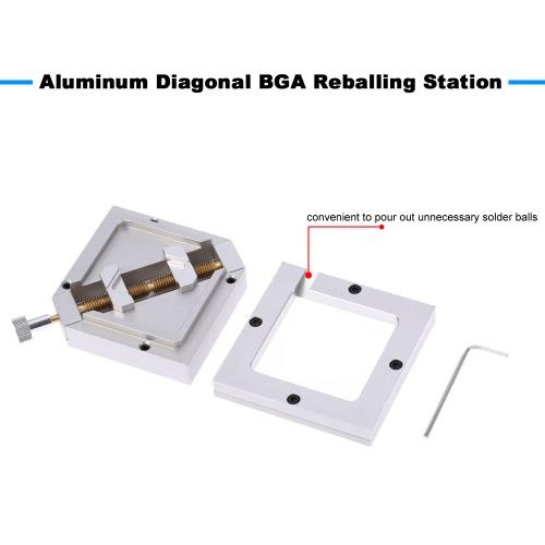90*90mm Portable Aluminum Diagonal BGA Reball Reballing Station Rework Stencil Base Holder KitTest Equipment &amp; Tools<br>90*90mm Portable Aluminum Diagonal BGA Reball Reballing Station Rework Stencil Base Holder Kit<br>