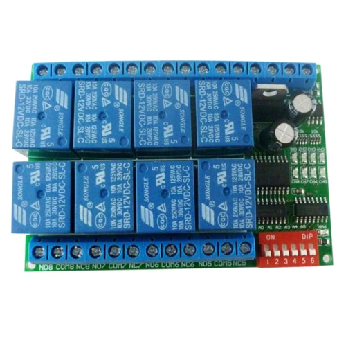 12 فولت 8ch rs485 تتابع مودبوس رتو بروتوكول المسلسل ميناء التحكم عن التبديل ل بلك تحكم المجلس
