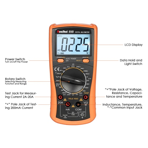 RuoShui 1999 Counts True RMS Multi-functional Digital Multimeter DMM with DC AC Voltage Current Meter Resistance Diode CapacitanceTest Equipment &amp; Tools<br>RuoShui 1999 Counts True RMS Multi-functional Digital Multimeter DMM with DC AC Voltage Current Meter Resistance Diode Capacitance<br>