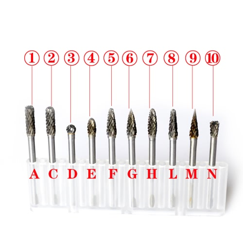 Electric Grinding Accessories 10pcs 0.12*0.24inch Tungsten Steel Carbide Milling Cutter for Rotary Burr Tool Set CNC EngravingTest Equipment &amp; Tools<br>Electric Grinding Accessories 10pcs 0.12*0.24inch Tungsten Steel Carbide Milling Cutter for Rotary Burr Tool Set CNC Engraving<br>