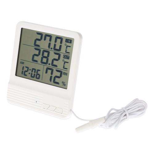 LCD Digital Indoor/Outdoor Thermometer Hygrometer Alarm Clock Temperature Humidity Measurement °C/°F Max Min Value Display