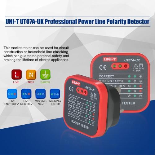 UNI-T UT07A-UK Professional Socket Tester Electrical Live/Null/Earth Line Polarity Detector UK PlugTest Equipment &amp; Tools<br>UNI-T UT07A-UK Professional Socket Tester Electrical Live/Null/Earth Line Polarity Detector UK Plug<br>