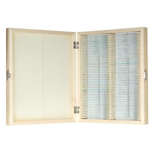 KKmoon 100pcs / set Lâminas de microscópio preparadas Plantas de animais Insetos Tecidos Conjuntos de lâminas com caixa de madeira para educação básica em ciência biológica