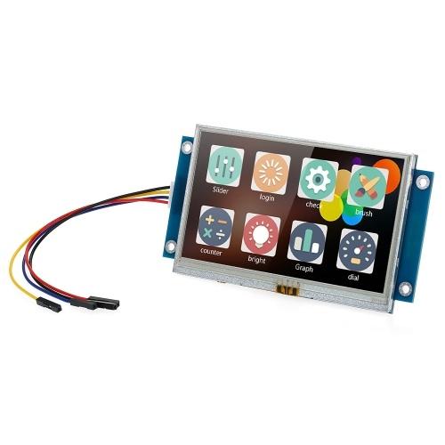 """4.3 """"Module d'affichage à cristaux liquides de couleur de port série IHM amélioré Panneau d'affichage intelligent de module d'affichage à cristaux liquides TFT tactile intelligent de USART"""