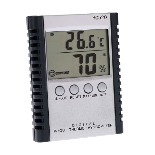 LCD Digital Indoor/Outdoor Thermometer Hygrometer Temperature Humidity Measurement °C/°F Max Min Value Display