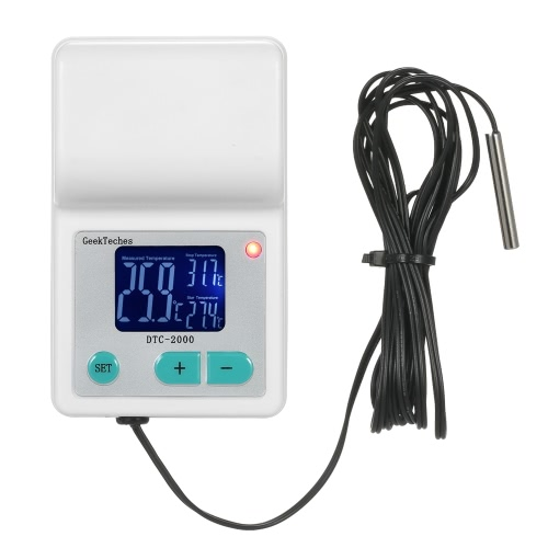 GeekTeches DTC-2000 AC110-240V 10A High Precision LCD Digital Water Temperature Controller Thermocouple Thermostat for Aquaculture with Waterproof Sensor Probe