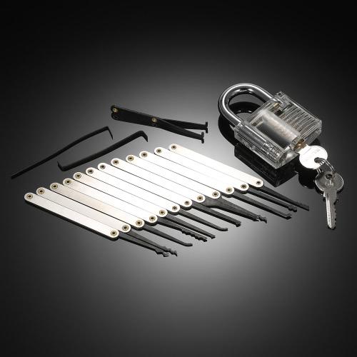 15pcs Stainless Steel Practice Unlocking Lock Picking Tools Set Lockset Training Kit with Transparent Crystal Padlock for Locksmith Beginners