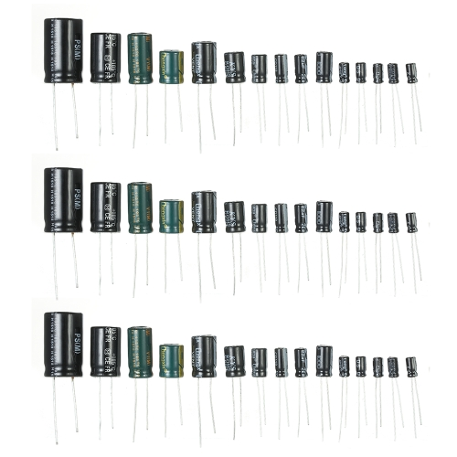 120pcs 15 Values 1uF-2200uF 50 V Condensateurs Électrolytiques Assortiment Kit