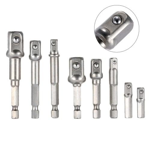 8pcs 1/4 3/8 1/2 Inch Hex Socket Driver Adapters Set Power Drill Extension Bar BitTest Equipment &amp; Tools<br>8pcs 1/4 3/8 1/2 Inch Hex Socket Driver Adapters Set Power Drill Extension Bar Bit<br>
