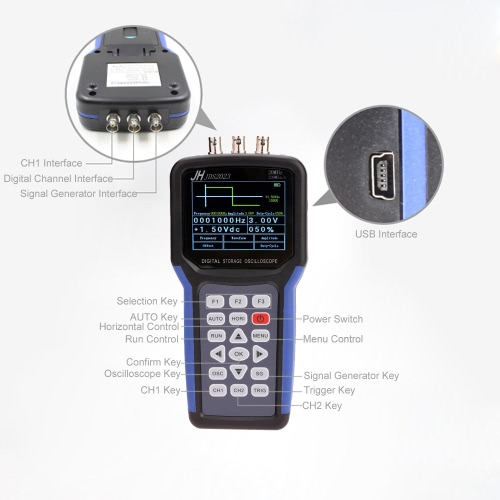 Handheld Multi-functional Digital Oscilloscope + Signal Generator Portable Scope Meter 20MHz Bandwidth 200MSa/s 1CH TFT LCD DisplaTest Equipment &amp; Tools<br>Handheld Multi-functional Digital Oscilloscope + Signal Generator Portable Scope Meter 20MHz Bandwidth 200MSa/s 1CH TFT LCD Displa<br>