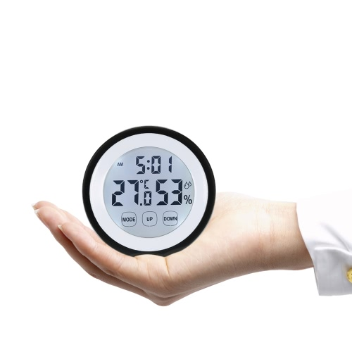 °C/°F Digital Thermometer Hygrometer Temperature Humidity Meter Alarm Clock Touch Key with BacklightTest Equipment &amp; Tools<br>°C/°F Digital Thermometer Hygrometer Temperature Humidity Meter Alarm Clock Touch Key with Backlight<br>