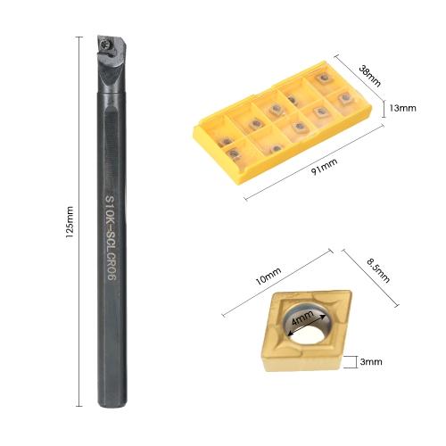 10pcs/box CCMT060204-HM Carbide Inserts + 6/7/8/10mm SCLCR06 Holder Boring Bar + 4pcs Wrench CNC Lathe Turning ToolTest Equipment &amp; Tools<br>10pcs/box CCMT060204-HM Carbide Inserts + 6/7/8/10mm SCLCR06 Holder Boring Bar + 4pcs Wrench CNC Lathe Turning Tool<br>