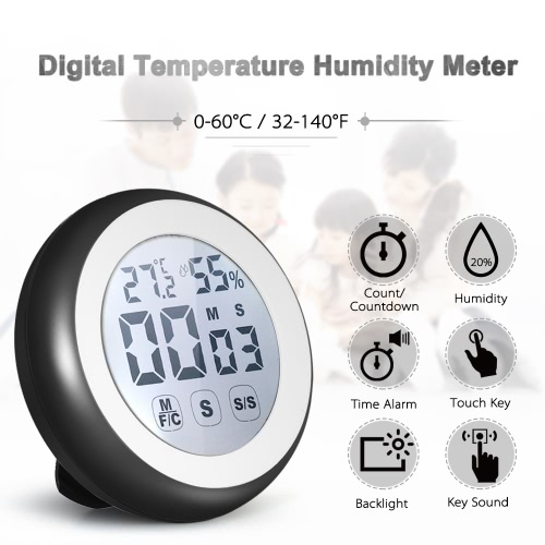 °C/°F Digital Thermometer Hygrometer Temperature Humidity Meter Count Countdown Touch Key with BacklightTest Equipment &amp; Tools<br>°C/°F Digital Thermometer Hygrometer Temperature Humidity Meter Count Countdown Touch Key with Backlight<br>