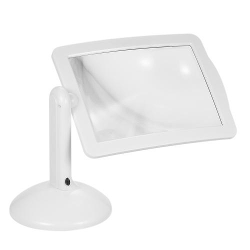 Handsfree 3X Reading Full-page Magnifier 2Led Magnifying Wallfire Loupe Glasses Desk Table Desktop Lamp Light