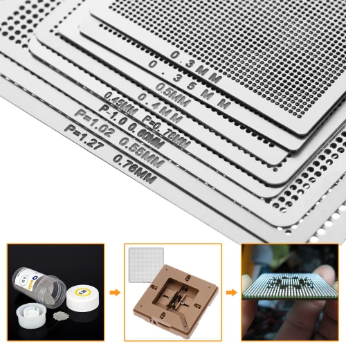 8pcs Mini Universal BGA Direct Heat Stencils Set Reballing Acessories 0.3mm 0.35mm 0.4mm 0.45mm 0.5mm 0.55mm 0.6mm 0.76mmTest Equipment &amp; Tools<br>8pcs Mini Universal BGA Direct Heat Stencils Set Reballing Acessories 0.3mm 0.35mm 0.4mm 0.45mm 0.5mm 0.55mm 0.6mm 0.76mm<br>