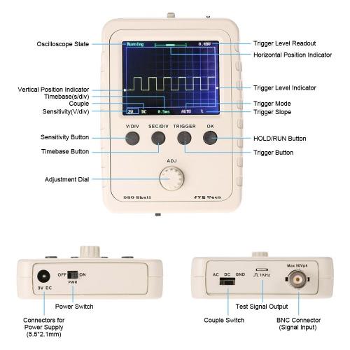 2.4 TFT Handheld Pocket-size Digital Oscilloscope DIY Kit Parts with Case SMD Soldered Electronic Learning Set 1MSa/s 0-200KHzTest Equipment &amp; Tools<br>2.4 TFT Handheld Pocket-size Digital Oscilloscope DIY Kit Parts with Case SMD Soldered Electronic Learning Set 1MSa/s 0-200KHz<br>