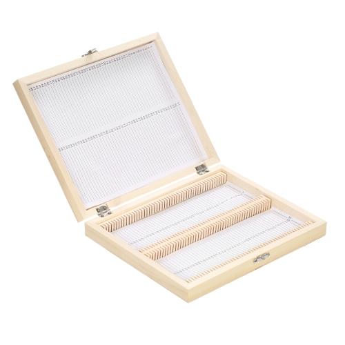 KKmoon 100-Places Caja de almacenamiento de diapositivas de madera con ranuras numeradas Hoja de contenido para portaobjetos de microscopio preparados