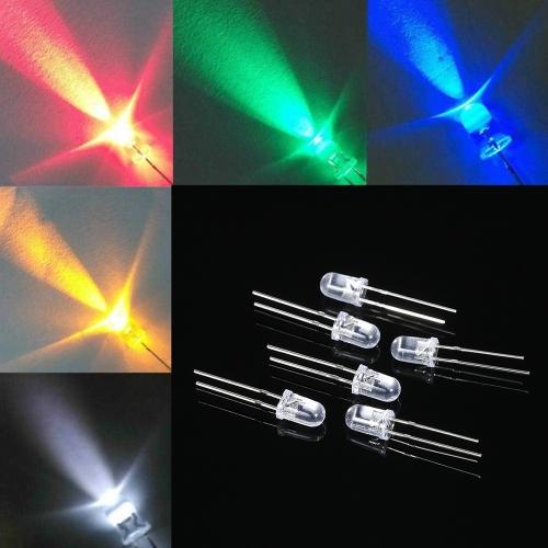 1000pcs 5mm rouge / vert / bleu / jaune / blanc ronde eau claire LED émettant des composants électroniques de kit de diodes