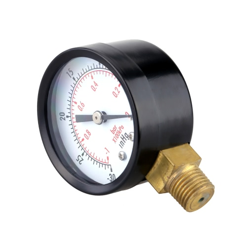0~-30inHg 0~-1bar Mini Dial Air Pressure Gauge Meter Vacuum Manometer Double ScaleTest Equipment &amp; Tools<br>0~-30inHg 0~-1bar Mini Dial Air Pressure Gauge Meter Vacuum Manometer Double Scale<br>