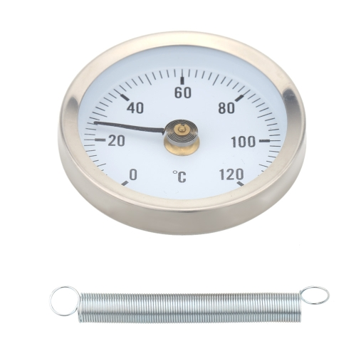 0-120°Bimetal Stainless Steel Surface Pipe Thermometer Clip-on Temperature Gauge with SpringTest Equipment &amp; Tools<br>0-120°Bimetal Stainless Steel Surface Pipe Thermometer Clip-on Temperature Gauge with Spring<br>