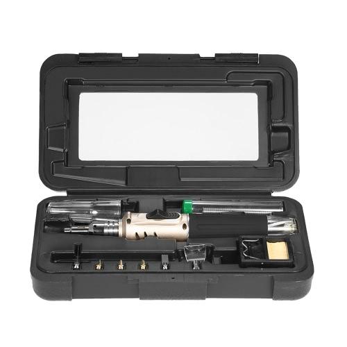 10 in 1 Professional Pen-style Butane Gas Soldering Iron Set 26ml Welding Kit Torch HS-1115K