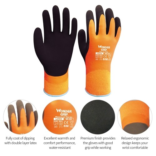 Wonder Grip WG-338 Thermo Plus Coldproof Work Gloves Double Layer Latex Coated