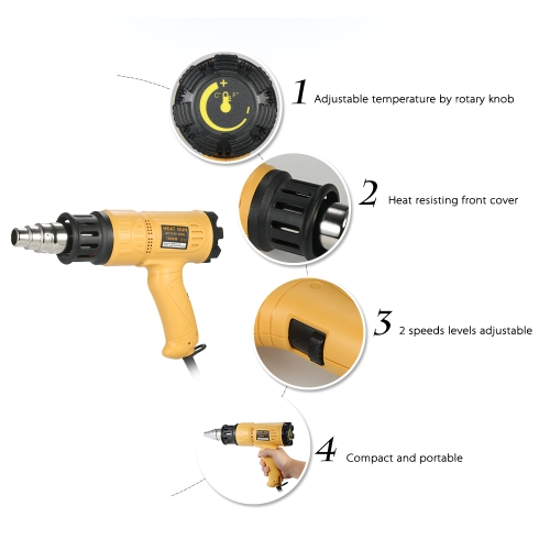 1800W Industrial Fast Heating Hot Air Gun Adjustable Temperature Speed Hot Heat Shrink Blower Tool with 4 Nozzles AC110V US PlugTest Equipment &amp; Tools<br>1800W Industrial Fast Heating Hot Air Gun Adjustable Temperature Speed Hot Heat Shrink Blower Tool with 4 Nozzles AC110V US Plug<br>